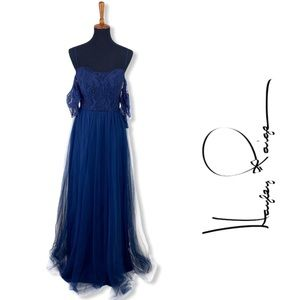 Hayley Paige Occasions Dark Blue Gown